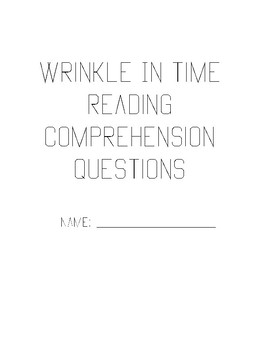 Wrinkle In Time Reading Notes/Booklet