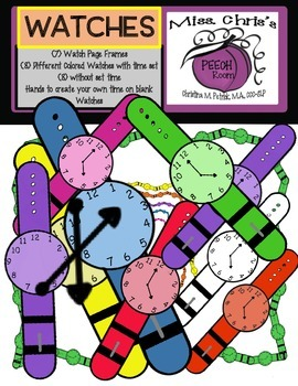 Wrist Watch Digital Clipart ~Separate Hands to make your own time!
