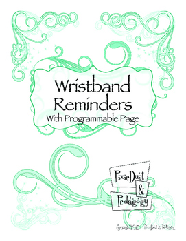 Wristband Reminder~ FREE EDITABLE in Aqua Sparkle