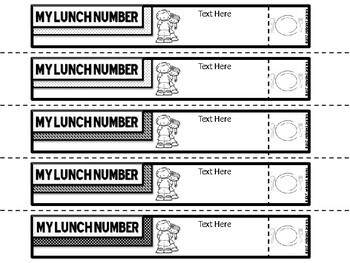 Wristbands Editable Reminders (Lunch Number, Computer Number, Field Trips, etc)