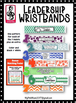 Wristbands promoting leadership habits plus matching poster