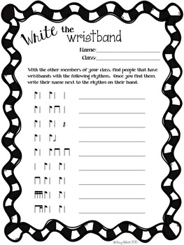 Wristbands for Rhythm Practice and Review in the Music Classroom {SAMPLER}