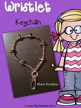 Wristlet Keychain- Black Rainbow