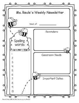 Writable Spelling Newsletter with automated spelling sheets
