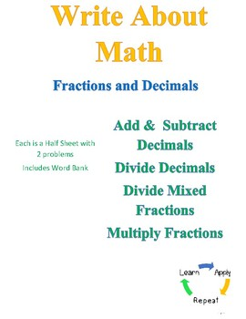 Write About Math - Fractions and Decimals