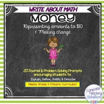 Write About Math Journal Prompts: Money  (Gr.3 Ontario Math Curriculum)