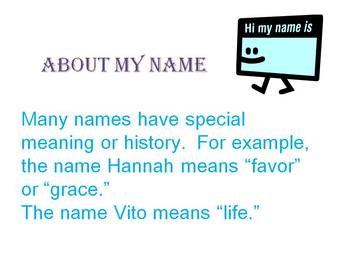 Write About My Name Activity Power Point