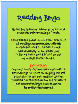 Write About Reading Bingo Activity Packet