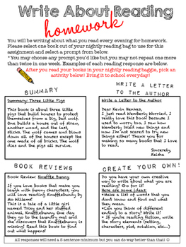 Write About Reading: Homework