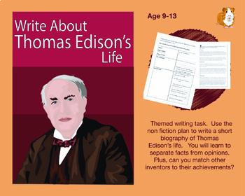 Write About Thomas Edison's Life (9-13 years)