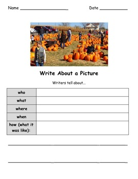 Four Seasons Writing Activities -  Write About a Seasonal Picture! BUNDLE