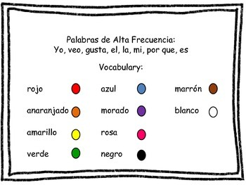 Write All About It!  Packet 2-Los Colores