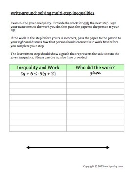 """Write-Around"" Solving & Graphing Multi-Step Inequalities ENGAGE ALL STUDENTS!"