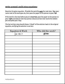"""""""Write-Around"""" Solving Multi-Step Equations Various ENGAGE STUDENTS"""