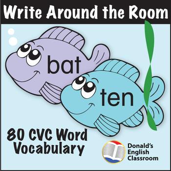 ESL Games - Write Around the Room - CVC Fish Pack