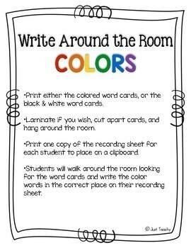 Write Around the Room - Color Words