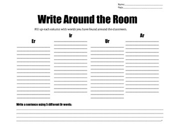 Write Around the Room (ar,er,ir,ur,or)
