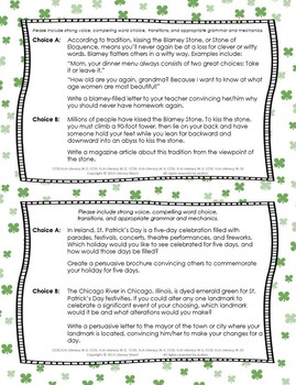 St. Patrick's Day Writing Task Cards (Grades 7, 8, 9)