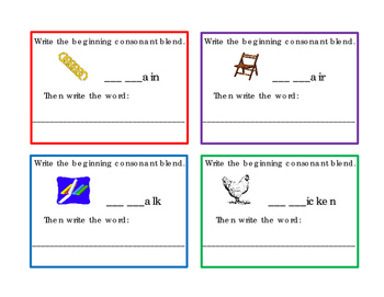 Write Beginning Consonant Blend Letters CH Picture Word 4 Task Cards