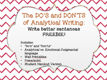 Write Better Sentences - The DO'S and DON'TS of Analytical Writing FREEBIE