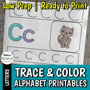 Write & Color Alphabet Printable Activity Pages for Practicing Letters