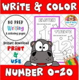 Write & Color Numbers 0-20 Preschool & Kinder