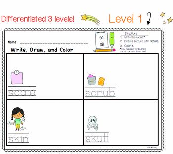 BLENDS Differentiated Literacy Center   Write Draw Color