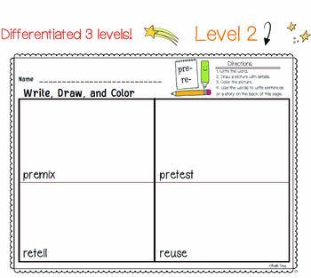 PREFIXES SUFFIXES Differentiated  Literacy Center | Write Draw Color