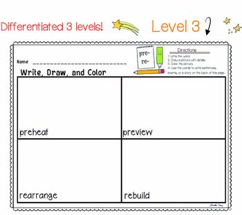 PREFIXES SUFFIXES Differentiated  Literacy Center | Write Draw Color