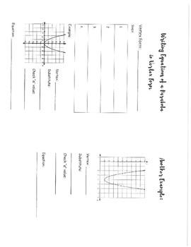 Write Equation of a Parabola in Vertex Form INB