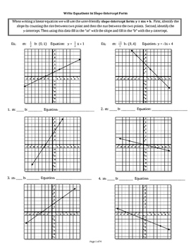 Write Equations in Slope Intercept Form
