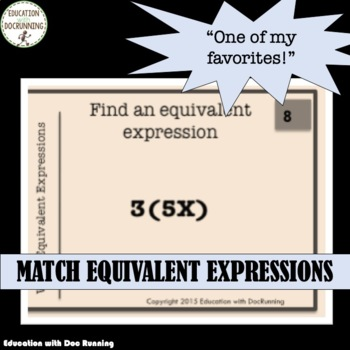 Write Equivalent Expressions task card Activity!  Great for Scavenger hunts!