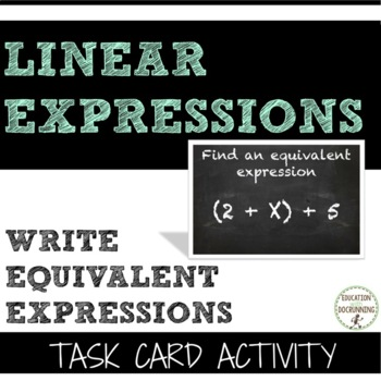 Equivalent Expressions -  Write Equivalent Expressions tas