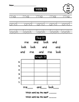 Write, Find, Graph, Read, Illustrate Sight Words ME AND LOOK