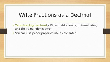 Write Fractions as Decimals