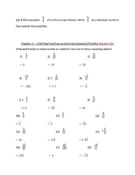 Write Fractions as Decimals Practice Problems
