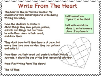 Write From The Heart, Writing Workshop Resource