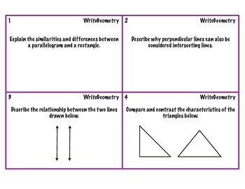 Write Geometry Task Cards
