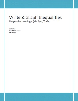 Write & Graph Linear Inequality Cooperative Learning - Quiz, Quiz, Trade