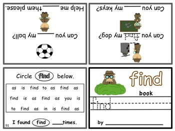 Write-In Rhyming Mini Sight Word Books Fry Words 4 Sets Bundled Printable