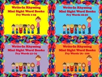 Write-In Rhyming Mini Sight Word Books Fry Words 4 Sets Bundled Printable