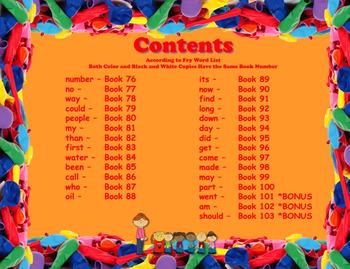 Write-In Rhyming Mini Sight Word Books Fry Words 76-100 Printable 3 Bonus Books!