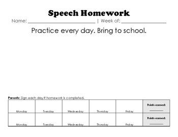 Write-In Speech Homework Template (English/Spanish)