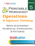 Write & Interpret Numerical Expressions & Patterns Printable Worksheet, Grade 5