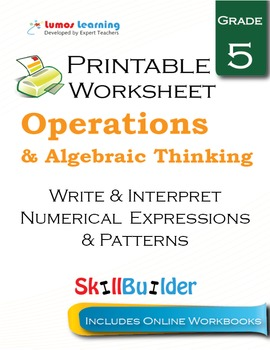 Write & Interpret Numerical Expressions & Patterns Printab