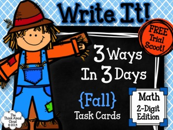 Fall Math Task Cards {2-Digits} ~ Write It! ~ 3 Ways in 3 Days {FREE Trial Set }