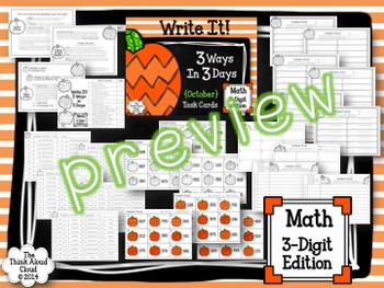 Place Value Math Task Cards ~ Write It! ~ 3 Ways in 3 Days {Fall BUNDLE}