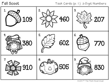 Write It! ~ 3 Ways in 3 Days ~ November/Fall Math Task Cards {3-Digit Numbers}
