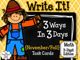 Write It! ~ 3 Ways in 3 Days ~ November/Fall Math Task Car