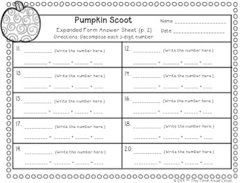 Write It! ~ 3 Ways in 3 Days ~ October Math Task Cards {3-Digit Numbers}